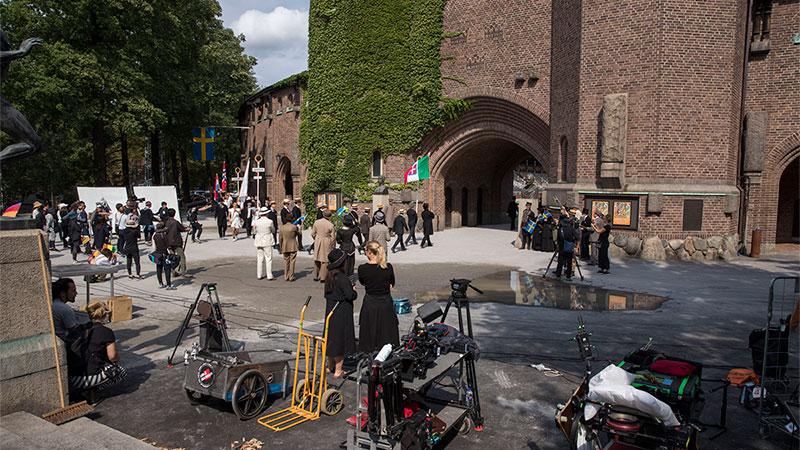 Filminspelning utanför Stockholms stadion. Foto: Mia Uddgren.